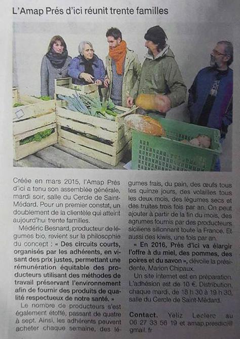 Article Ouest France AMAP Pres d'ici