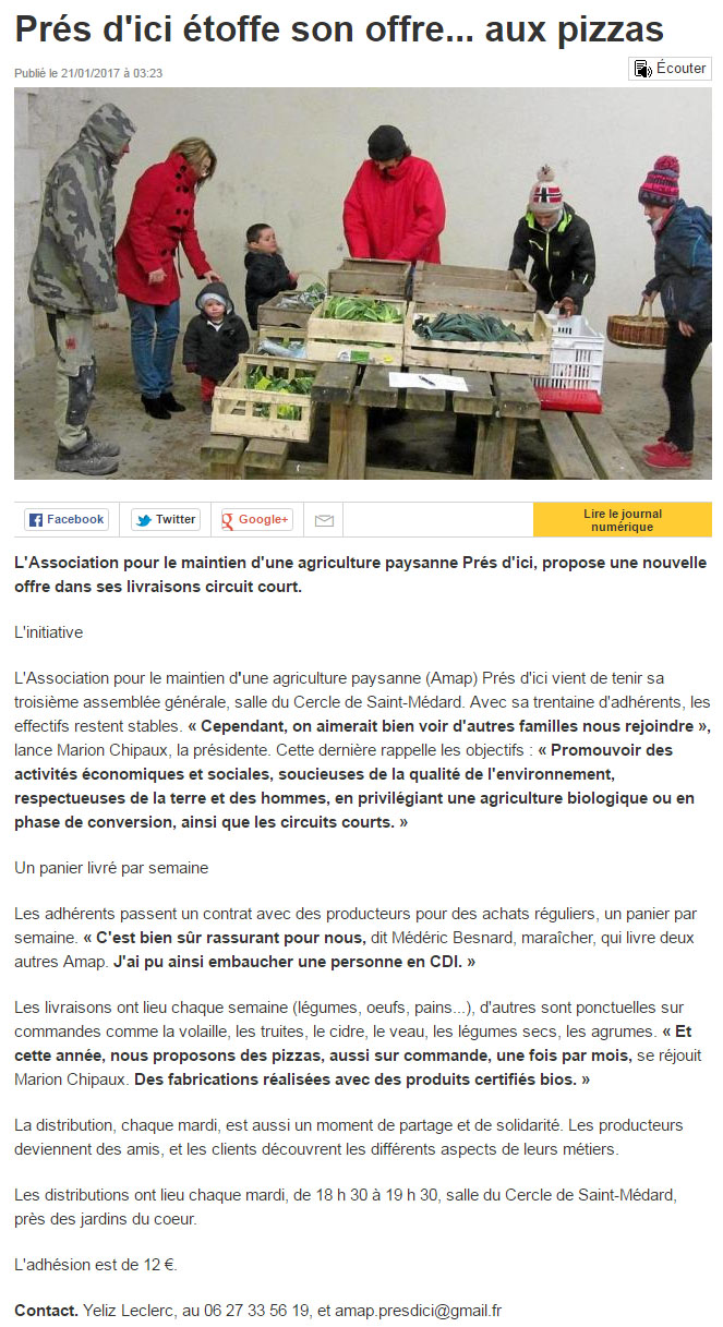 Pres dici amap article ouest france pizzas